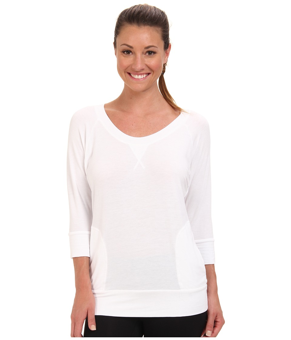 Pink Lotus - Scoop Neck Raglan Pullover (White) Women's Workout