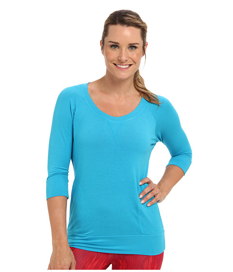 Pink Lotus - Scoop Neck Raglan Pullover (Caribbean Blue) Women's Workout