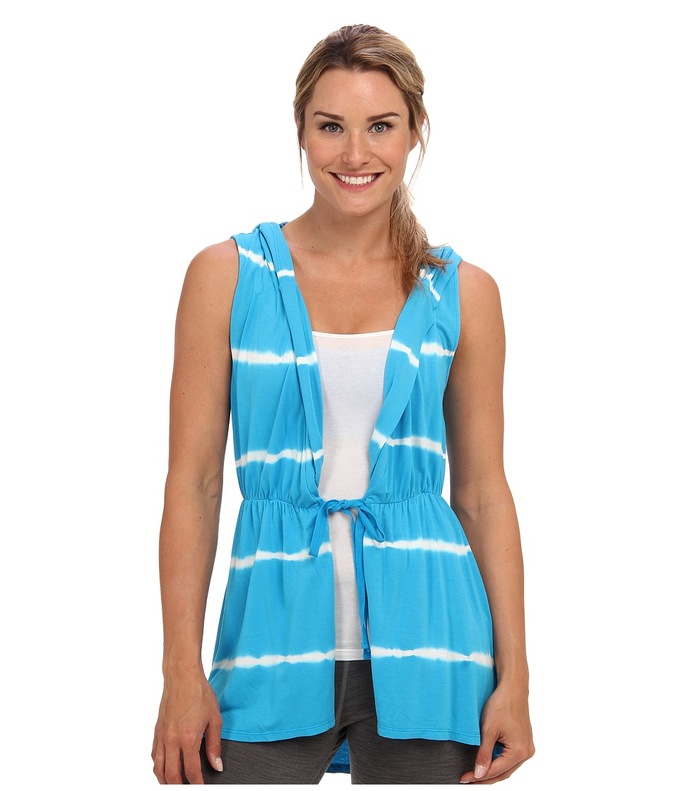 Pink Lotus - Vertical Tied Sleeveless Hooded Wrap (Ocean Breeze) Women's Sweatshirt