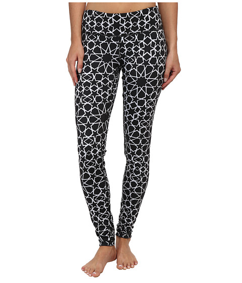 Pink Lotus - Print/Solid Reversible Legging (Geo Star) Women's Workout