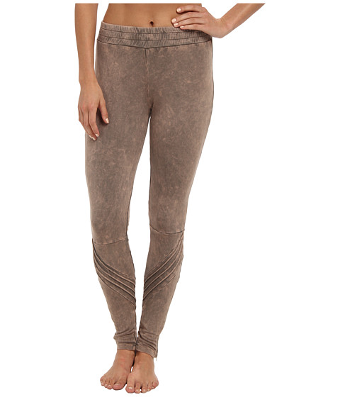 Pink Lotus - Mineral Zipper Pant (Steel Grey Mineral Wash) Women's Workout