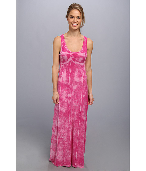 Pink Lotus - Seamed Maxi Dress w/ Twist Back (Flamingo Crackle) Women's Dress