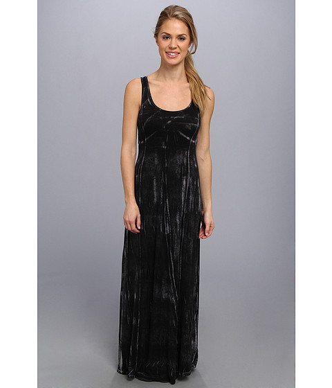 Pink Lotus - Seamed Maxi Dress w/ Twist Back (Black Crackle) Women