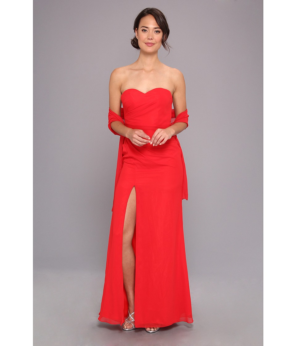 Faviana - Strapless Sweetheart Chiffon Gown 7360 (Red) Women's Dress