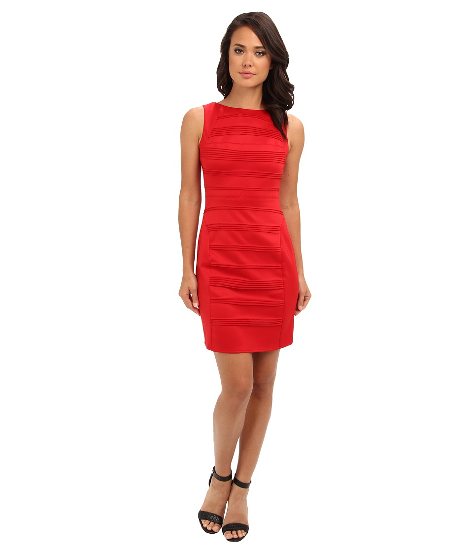 Christin Michaels - Sleeveless Ribbed Sheath Dress (Red) Women