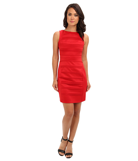 Christin Michaels - Sleeveless Ribbed Sheath Dress (Red) Women's Dress