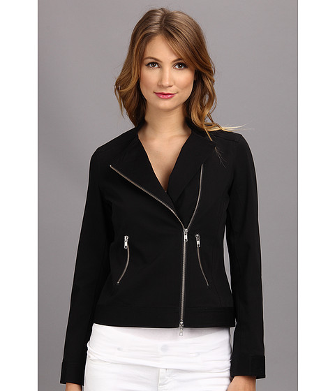 Christin Michaels - Solid L/S Moto Jacket (Black) Women's Jacket