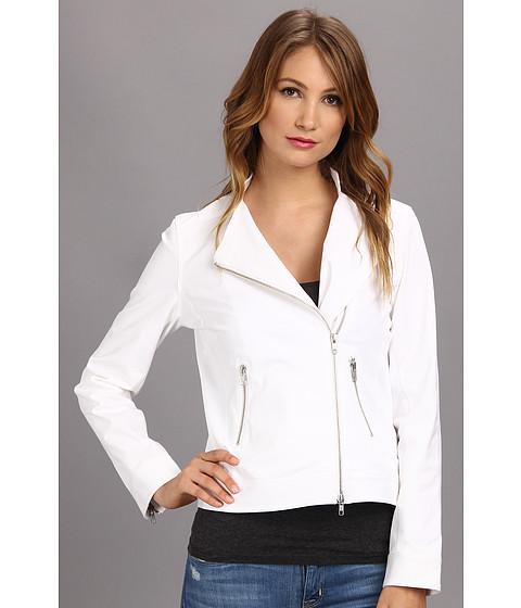 Christin Michaels - Solid L/S Moto Jacket (White) Women's Jacket