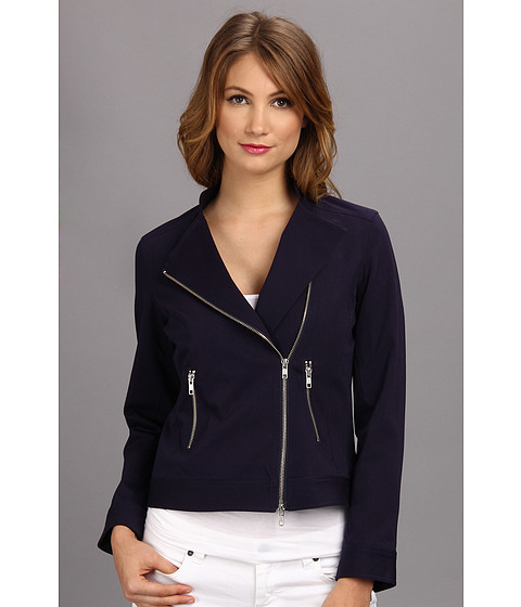 Christin Michaels - Solid L/S Moto Jacket (New Navy) Women