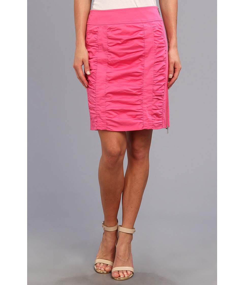 Christin Michaels - Side Zip Rouched Skirt Solid (Candy Pink) Women's Skirt