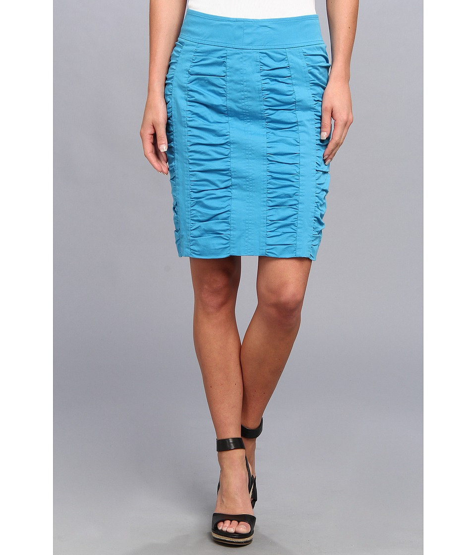 Christin Michaels - Side Zip Rouched Skirt Solid (Malibu) Women's Skirt