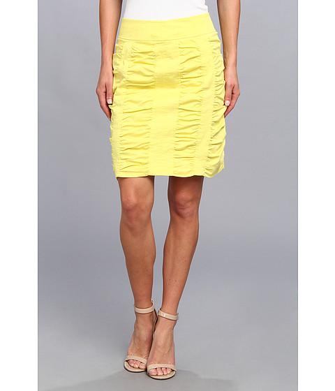 Christin Michaels - Side Zip Rouched Skirt Solid (Sun) Women's Skirt