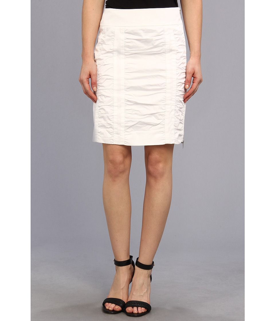 Christin Michaels - Side Zip Rouched Skirt Solid (White) Women
