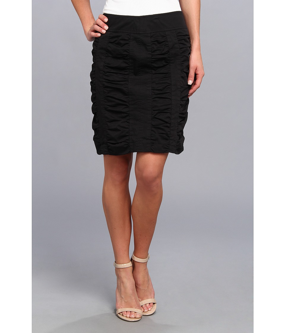 Christin Michaels - Side Zip Rouched Skirt Solid (Black) Women's Skirt