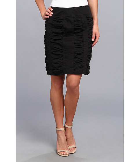 Christin Michaels - Side Zip Rouched Skirt Solid (Black) Women