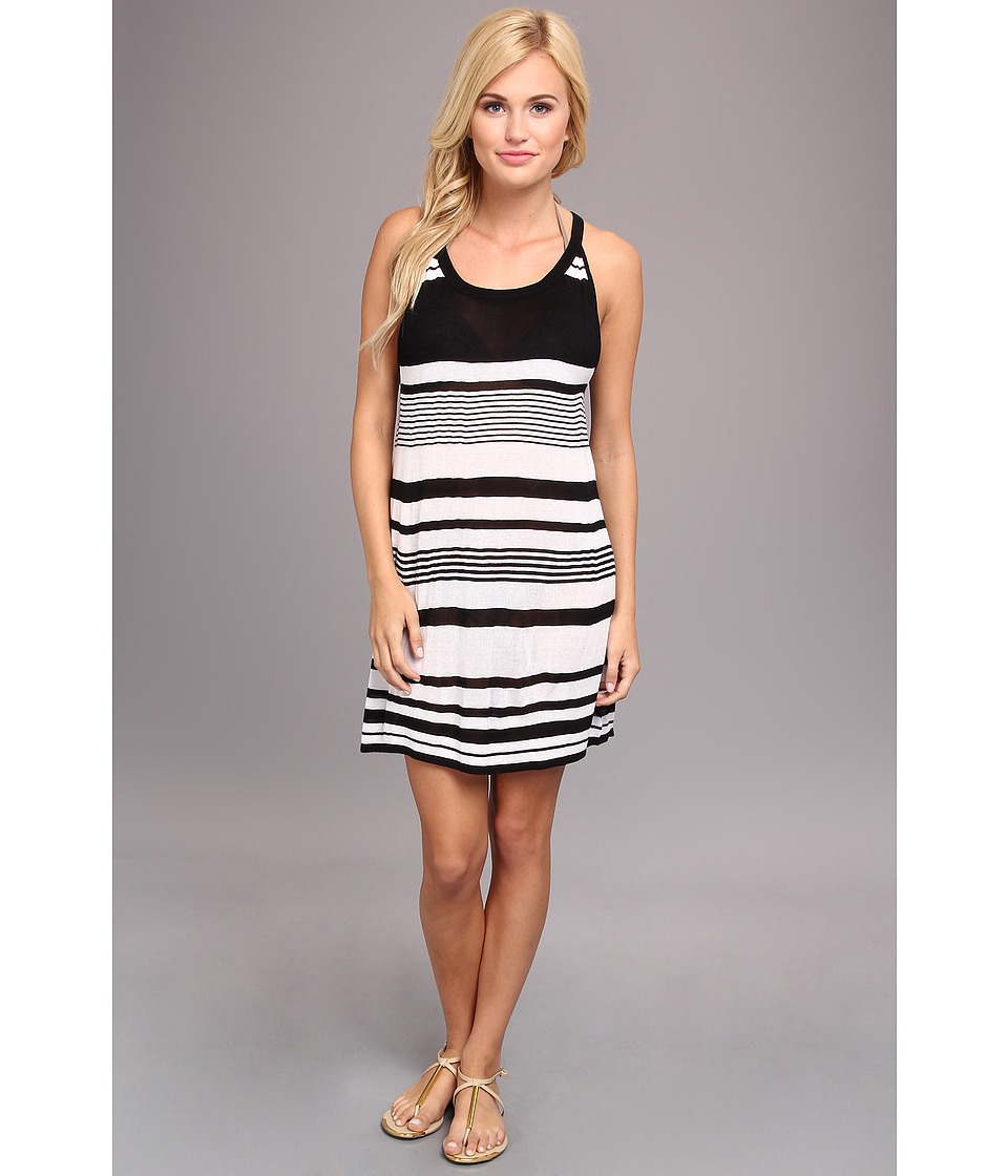 Echo Design - Pop Stripe Halter Dress Cover-Up (Black) Women's Swimwear