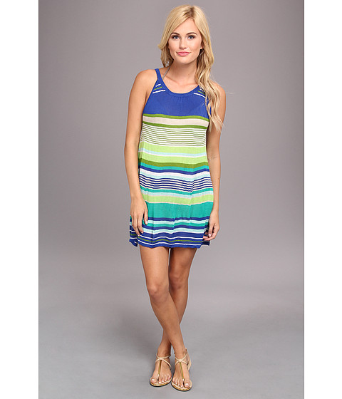 Echo Design - Pop Stripe Halter Dress Cover-Up (Primary Blue) Women's Swimwear