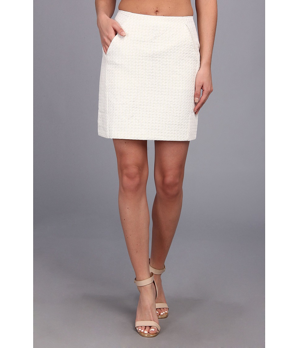 Brigitte Bailey - Heather Woven Pencil Skirt (White) Women's Skirt