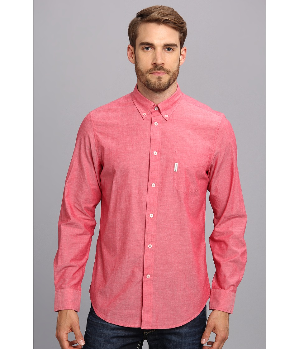 Ben Sherman - Summer Oxford Chambray L/S Shirt (Red) Men's Long Sleeve Button Up