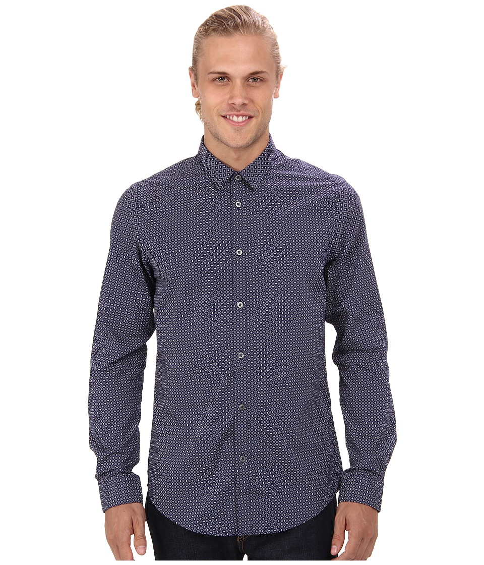Ben Sherman - Long Sleeve Spot Tile Print Woven (Navy) Men