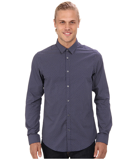 Ben Sherman - Long Sleeve Spot Tile Print Woven (Navy) Men's Long Sleeve Button Up