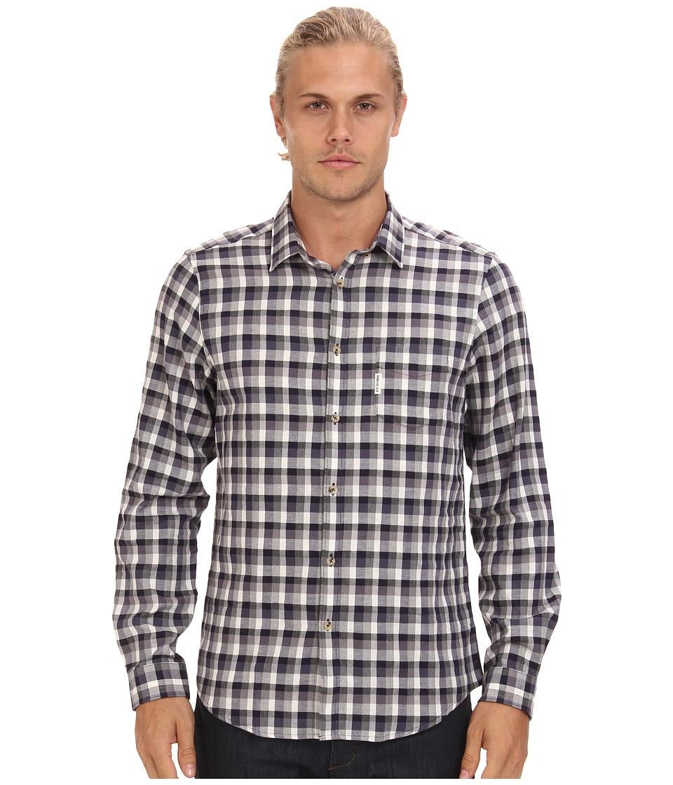 Ben Sherman - Flecked Check L/S Woven (Medium Blue) Men's Long Sleeve Button Up