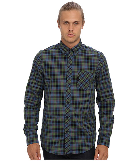 Ben Sherman - Long Sleeve Pop Tartan Poplin Check Woven MA10846A (Forest Night) Men's Long Sleeve Button Up