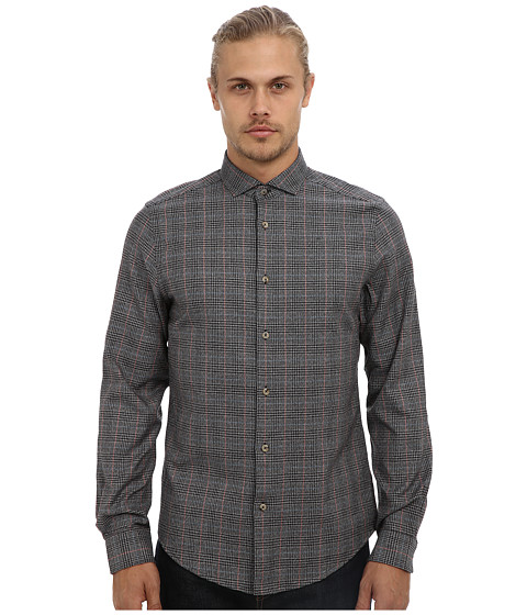 Ben Sherman - Long Sleeve Marl Prince Of Wales Check Woven MA10888 (Jet Black) Men