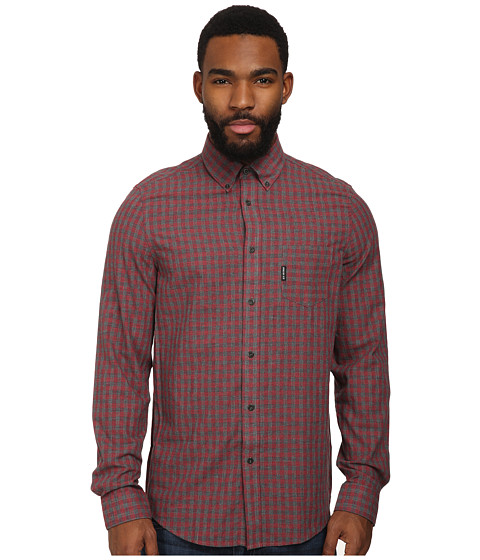 Ben Sherman - Long Sleeve Houndstooth Gingham Check Woven MA10875A (Biking Red) Men