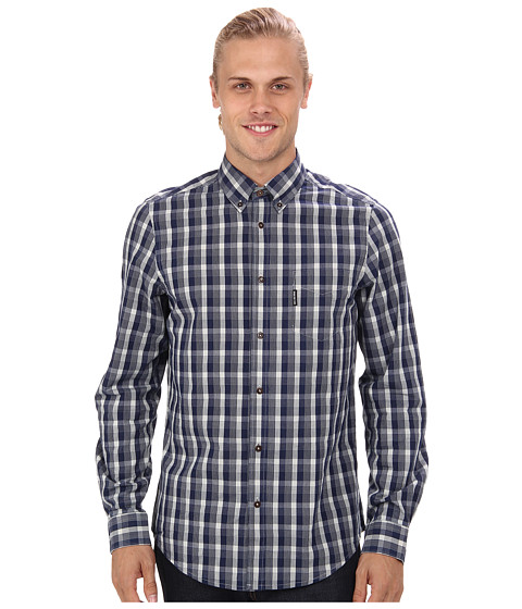 Ben Sherman - Long Sleeve Indigo Grid Check Woven (Blue Depths) Men