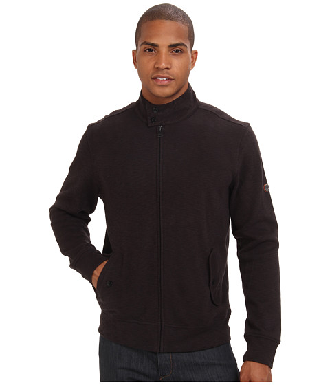 Ben Sherman - Flat Back Rib Zip-Through Sweat Jacket (Jet Black) Men