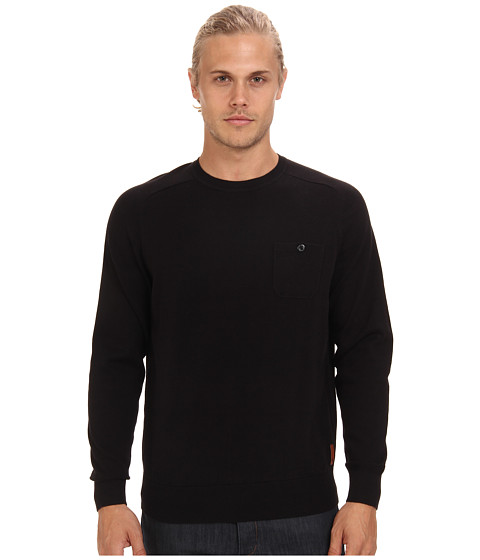 Ben Sherman - Saddle Sleeve Crew Neck Sweater w/ Chest Pocket (Jet Black) Men