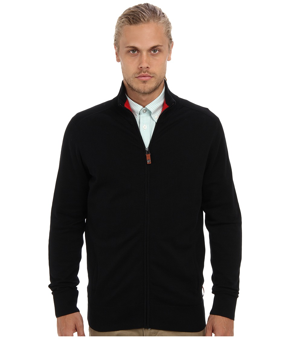 Ben Sherman - Lightweight Cotton Zip Through Sweater (Jet Black) Men