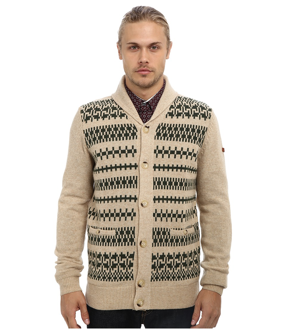 Ben Sherman - Fairisle Front High Shawl Cardigan ME10739 (Linen Marl) Men's Sweater