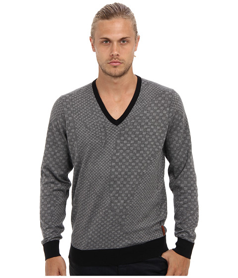 Ben Sherman - Geometric Jacquard V-Neck Sweater (Jet Black) Men