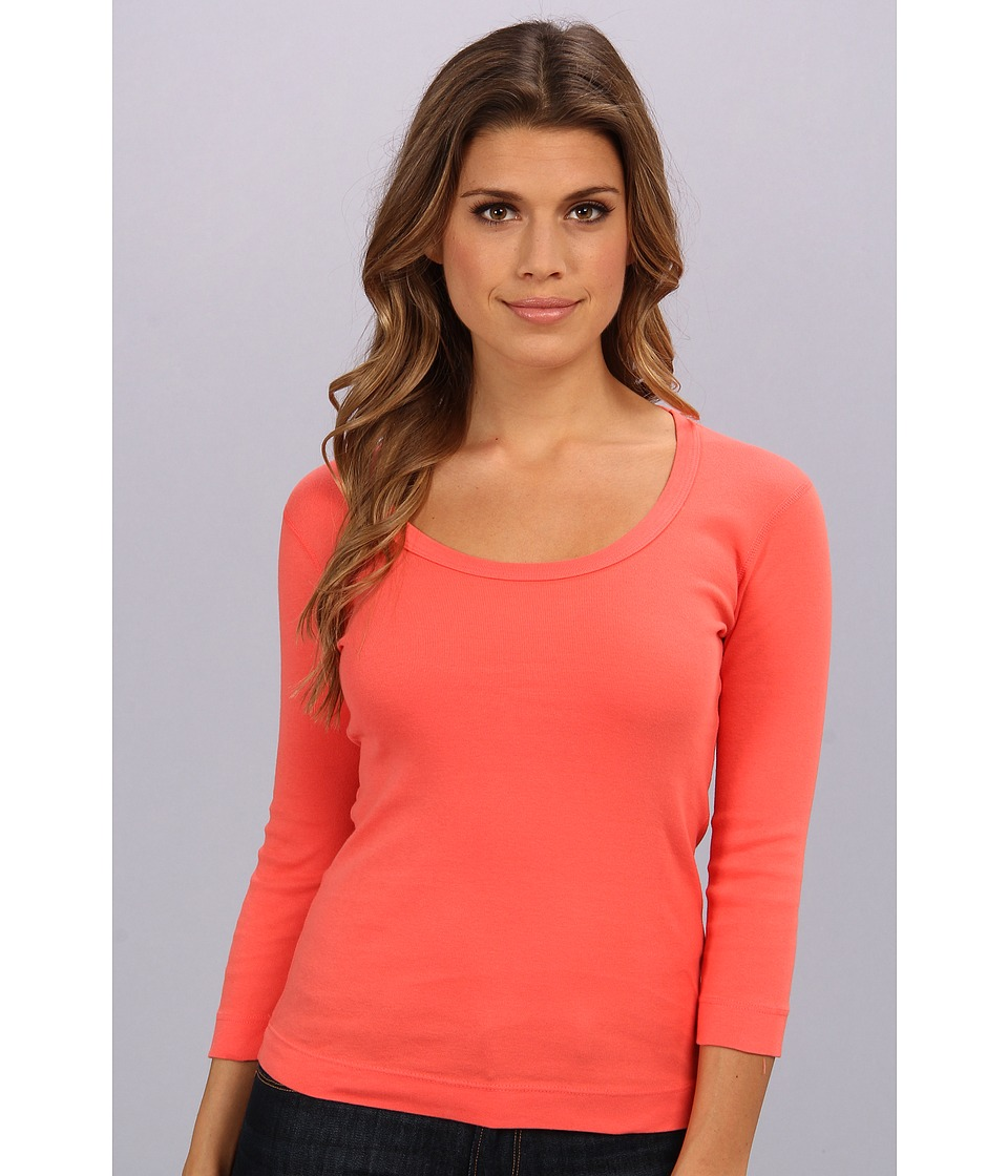 Three Dots - 3/4 Sleeve Scoop Neck (Calypso Coral) Women's Long Sleeve Pullover