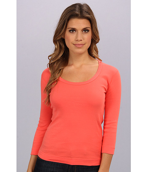 Three Dots - 3/4 Sleeve Scoop Neck (Calypso Coral) Women's T Shirt