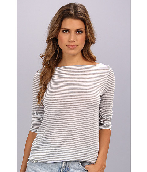 Three Dots - Boatneck 3/4 Sleeve Top w/ Side Slits (White) Women's Long Sleeve Pullover