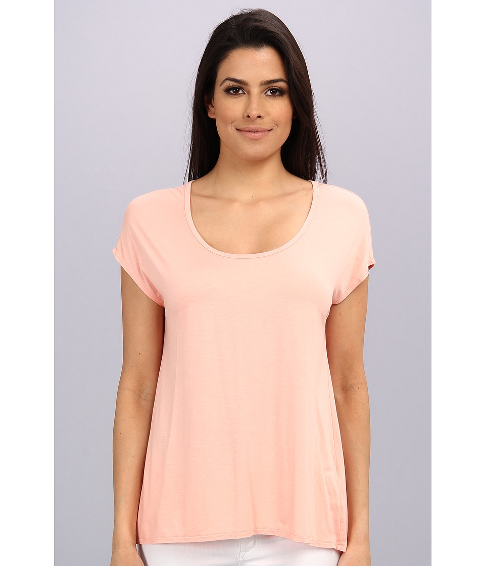 Three Dots - Cap Sleeve Relaxed Tee (Peach Nectar) Women's Short Sleeve Pullover