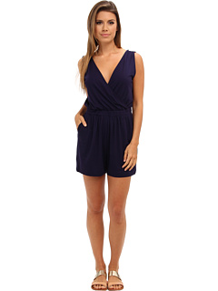 SALE! $76.99 - Save $51 on Three Dots Cross Over Romper w V Back (Evening Blue) Apparel - 39.85% OFF $128.00