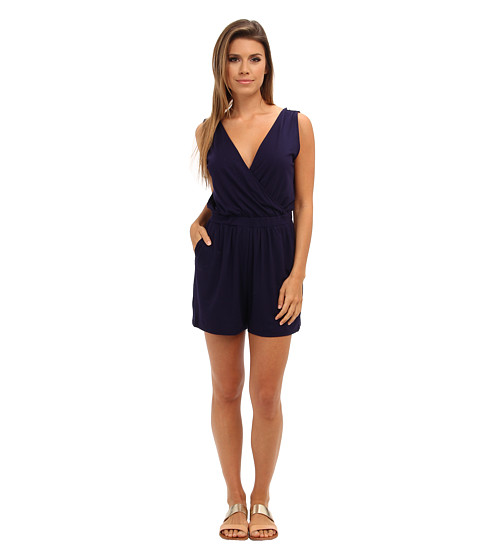 Three Dots - Cross Over Romper w/ V-Back (Evening Blue) Women's Jumpsuit & Rompers One Piece