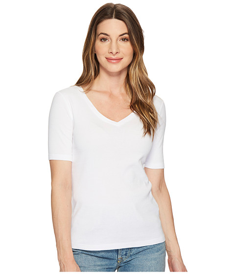 Three Dots - 9 Sleeve V-Neck (White) Women's Short Sleeve Pullover