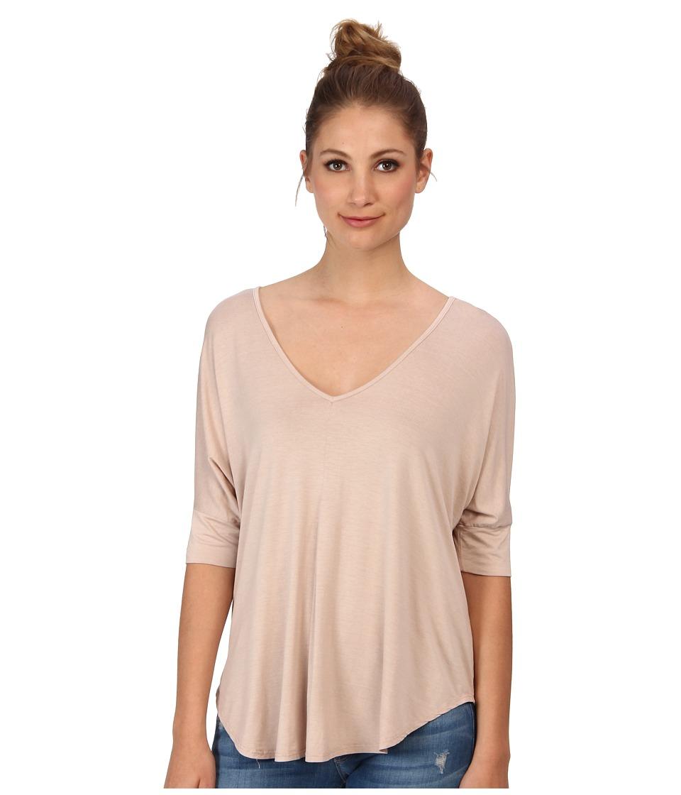 Three Dots - V-Neck Tee w/ Pleat Detail (Safari Tan) Women's T Shirt