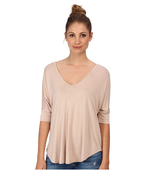 Three Dots - V-Neck Tee w/ Pleat Detail (Safari Tan) Women