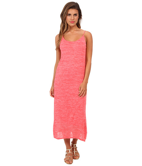 Three Dots - Slub Jersey Midi Dress w/ Side Slits And V-Back (Calypso Coral) Women's Dress