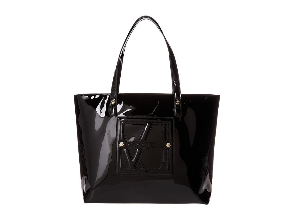 Versace Jeans - Patent Logo Tote EE1VIBBA6 E76168 E899 (Black) Tote Handbags