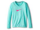 Nike Kids Leg V-Neck Swoosh L/S Tee (Little Kids/Big Kids) (Bleached Turquoise/Dark Grey Heather/Hyper Pink)