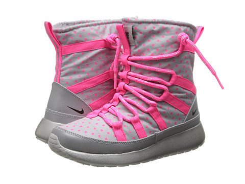 Nike Kids - Rosherun Hi Sneakerboot Flash (Little Kid/Big Kid) (Wolf Grey/Hyper Pink/Reflect Silver/Black) Girls Shoes
