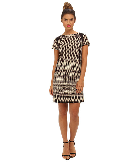 Nicole Miller - Temple Ikat Short Sleeve Dress (Black Multi) Women's Dress
