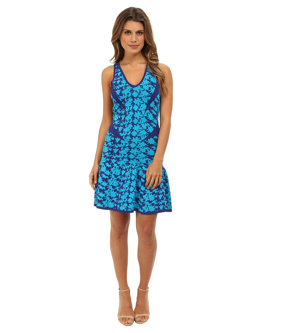 Nicole Miller Graphic Floral Double Knit Fit and Flare Dress (Catalina Blue) Women